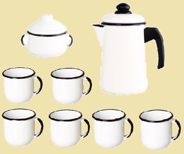 Kit Café - Esmaltados Ewel Branco (6 Xícaras + Bule + Açucareira)